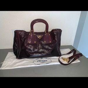 Authentic Prada patent lux shopper tote satchel
